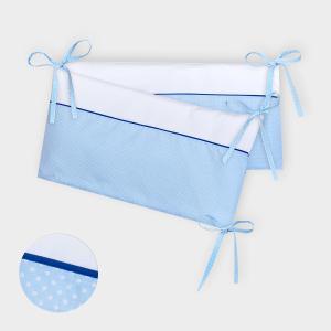 KraftKids Nestchen Uniweiss und weiße Punkte auf Hellblau Nestchenlänge 60-70-60 cm für Bettgröße 140 x 70 cm