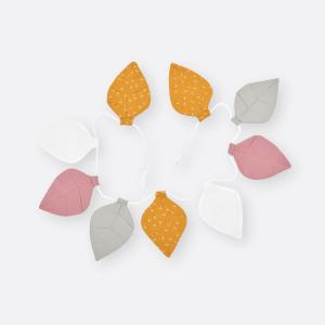 KraftKids Wimpelkette Musselin mustard grau rosa