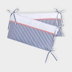 KraftKids Nestchen Uniweiss und Streifen dunkelblau Nestchenlänge 60-70-60 cm für Bettgröße 140 x 70 cm