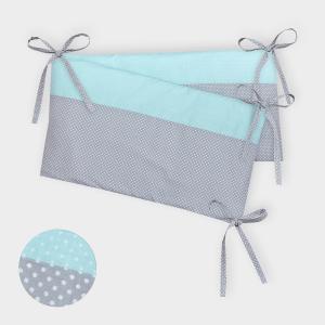 KraftKids Nestchen weiße Punkte auf Grau und weiße Punkte auf Mint Nestchenlänge 60-70-60 cm für Bettgröße 140 x 70 cm