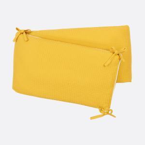 KraftKids Nestchen Waffel Piqué mustard Nestchenlänge 60-70-60 cm für Bettgröße 140 x 70 cm