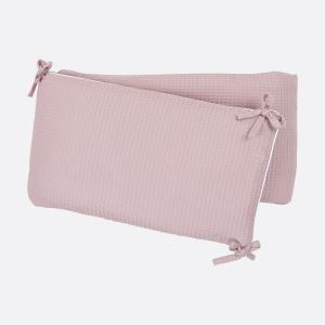 KraftKids Nestchen Waffel Piqué rosa Nestchenlänge 60-60-60 cm für Bettgröße 120 x 60 cm