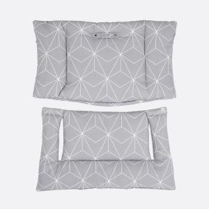 KraftKids Hochstuhlpolster weiße dünne Diamante auf Grau Hochstuhl Hochstuhleinlage passend für Stokke TrippTrapp