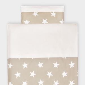 KraftKids Bettwäscheset große weiße Sterne auf Beige und Uniweiss 140 x 200 cm, Kissen 80 x 80 cm