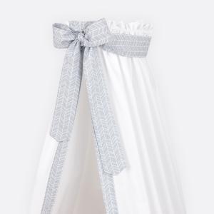 KraftKids Betthimmel weiße Feder Muster auf Grau