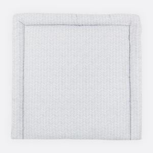 KraftKids Wickelauflage weiße Feder Muster auf Grau breit 75 x tief 70 cm