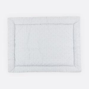 KraftKids Krabbeldecke weiße Feder Muster auf Grau