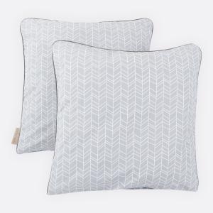 KraftKids Kissenbezug weiße Feder Muster auf Grau
