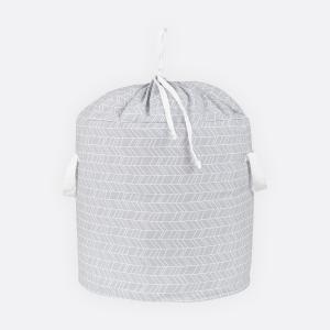 KraftKids Spielzeugkorb weiße Feder Muster auf Grau