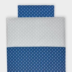 KraftKids Bettwäscheset weiße Anker auf Dunkelblau und weiße Anker auf Grau 140 x 200 cm, Kissen 80 x 80 cm