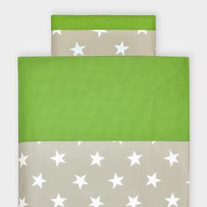 KraftKids Bettwäscheset große weiße Sterne auf Beige und weiße Punkte auf Grün 140 x 200 cm, Kissen 80 x 80 cm