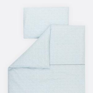 KraftKids Bettwäscheset weiße Feder Muster auf Blau 140 x 200 cm, Kissen 80 x 80 cm
