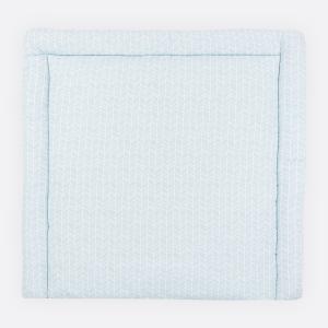 KraftKids Wickelauflage weiße Feder Muster auf Blau 85 cm breit x 75 cm tief