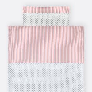 KraftKids Bettwäscheset graue Punkte auf Weiss und Streifen rosa 140 x 200 cm, Kissen 80 x 80 cm