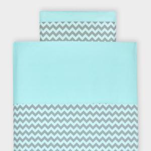 KraftKids Bettwäscheset weiße Punkte auf Mint und Chevron hellgrau und mint 140 x 200 cm, Kissen 80 x 80 cm