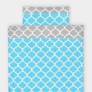 KraftKids Bettwäscheset marokkanisches Klee grau und marokkanisches Klee türkis 140 x 200 cm, Kissen 80 x 80 cm