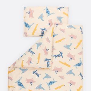 KraftKids Bettwäscheset Zoe´s Dinosaurier auf Beige 100 x 135 cm, Kissen 40 x 60 cm
