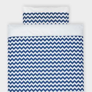 KraftKids Bettwäscheset Uniweiss und Chevron dunkelblau 140 x 200 cm, Kissen 80 x 80 cm