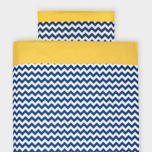 KraftKids Bettwäscheset weiße Punkte auf Gelb und Chevron dunkelblau 140 x 200 cm, Kissen 80 x 80 cm