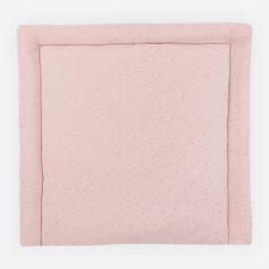 KraftKids Wickelauflage Musselin goldene Punkte auf Rosa breit 78 x tief 78 cm z. B. für MALM oder HEMNES Kommodenaufsatz von KraftKids