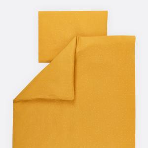 KraftKids Bettwäscheset Musselin goldene Punkte auf Gelb 100 x 135 cm, Kissen 40 x 60 cm