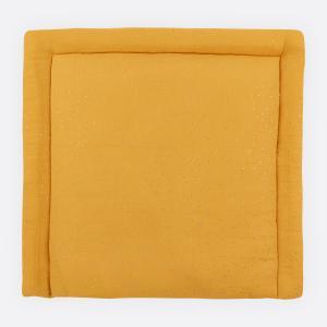 KraftKids Wickelauflage Musselin goldene Punkte auf Gelb 85 cm breit x 75 cm tief