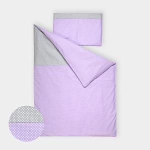 KraftKids Bettwäscheset weiße Punkte auf Grau und weiße Punkte auf Lila 140 x 200 cm, Kissen 80 x 80 cm