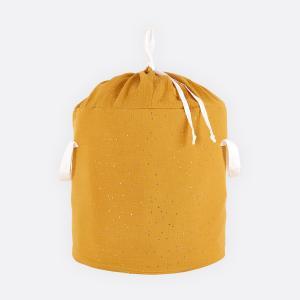 KraftKids Spielzeugkorb Musselin goldene Punkte auf Gelb