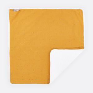 KraftKids Wickelunterlage Musselin goldene Punkte auf Gelb 3 Lagen wasserundurchlässig weich Frotte 100% Baumwolle