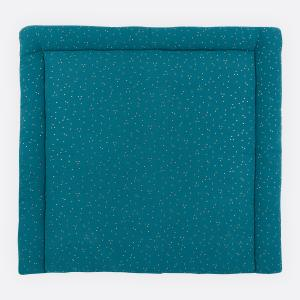 KraftKids Wickelauflage Musselin goldene Punkte auf Petrol breit 60 x tief 70 cm passend für Waschmaschinen-Aufsatz von KraftKids