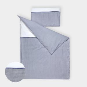 KraftKids Bettwäscheset Uniweiss und dünne Streifen dunkelblau 140 x 200 cm, Kissen 80 x 80 cm