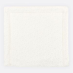 KraftKids Wickelauflage Musselin goldene Punkte auf Weiß 85 cm breit x 75 cm tief