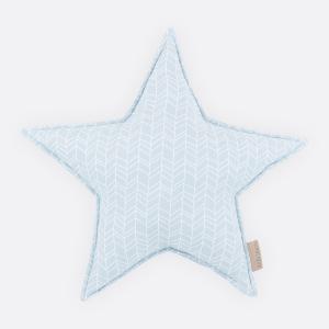 KraftKids Dekoration Sternkissen weiße Feder Muster auf Blau