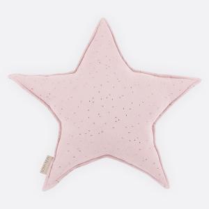 KraftKids Sternkissen Musselin goldene Punkte auf Rosa