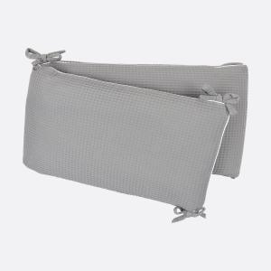 KraftKids Nestchen Waffel Piqué grau Nestchenlänge 60-60-60 cm für Bettgröße 120 x 60 cm
