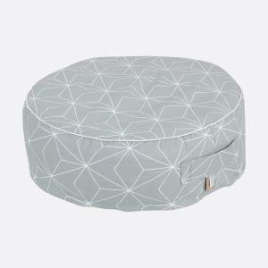 KraftKids Sitzpuff weiße dünne Diamante auf Grau mit Micro-EPS-Perlen mit TOXPROOF-ZERTIFIKAT des TÜV-Rheinland
