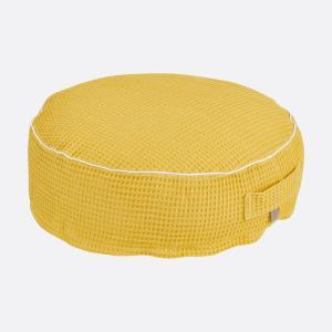 KraftKids Sitzpuff Waffel Piqué mustard mit Micro-EPS-Perlen mit TOXPROOF-ZERTIFIKAT des TÜV-Rheinland