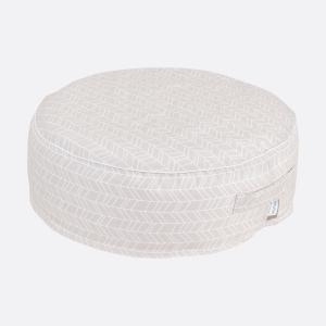 KraftKids Sitzpuff weiße Feder Muster auf Rosa mit Micro-EPS-Perlen mit TOXPROOF-ZERTIFIKAT des TÜV-Rheinland