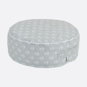 KraftKids Sitzpuff weiße Anker auf Grau mit Micro-EPS-Perlen mit TOXPROOF-ZERTIFIKAT des TÜV-Rheinland