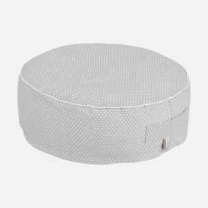 KraftKids Sitzpuff weiße Punkte auf Grau mit Micro-EPS-Perlen mit TOXPROOF-ZERTIFIKAT des TÜV-Rheinland