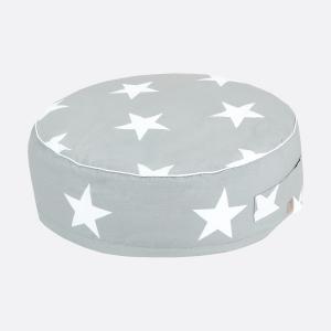 KraftKids Sitzpuff große weiße Sterne auf Grau mit Micro-EPS-Perlen mit TOXPROOF-ZERTIFIKAT des TÜV-Rheinland