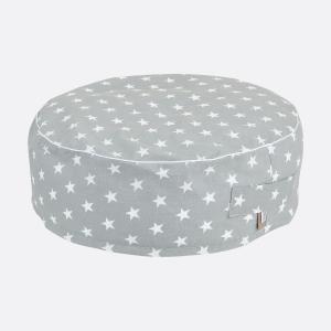 KraftKids Sitzpuff kleine weiße Sterne auf Grau mit Micro-EPS-Perlen mit TOXPROOF-ZERTIFIKAT des TÜV-Rheinland