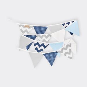 KraftKids Tipi Sets in Blau Chevron dunkelblau grau weiß