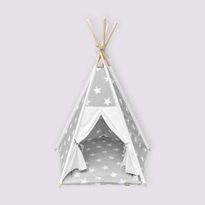 KraftKids Tipi Sets in Grau große weiße Sterne auf Grau und Uniweiss inkl. Spielmatte