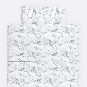KraftKids Bettwäscheset weißer Marmor 100 x 135 cm, Kissen 40 x 60 cm