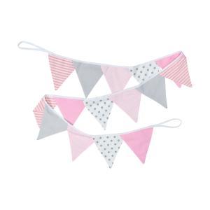 KraftKids Dekoration Wimpelkette rosa grau weiss