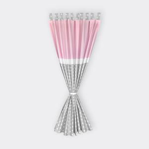 KraftKids Gardinen kleine weiße Sterne auf Grau und weiße Punkte auf Rosa Länge: 170 cm