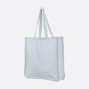 KraftKids Tragetasche weiße Feder Muster auf Grau Shopper