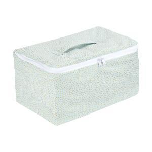 KraftKids Aufbewahrungsbox Stoff goldene unregelmäßige Punkte auf hellem Mint 30 x 18 x 15 cm