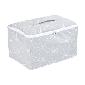 KraftKids Körbchen verschliessbar weiße dünne Diamante auf Grau 33 x 20 x 20 cm